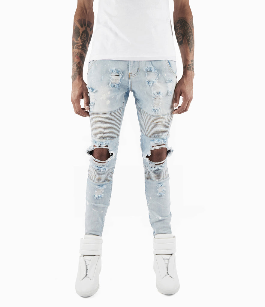 JN152 Distressed Paint Splatter Biker Denim - Light Blue - underated london - underatedco - 3