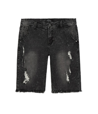 JN213 Distressed Denim Shorts - Black - UNDERATED