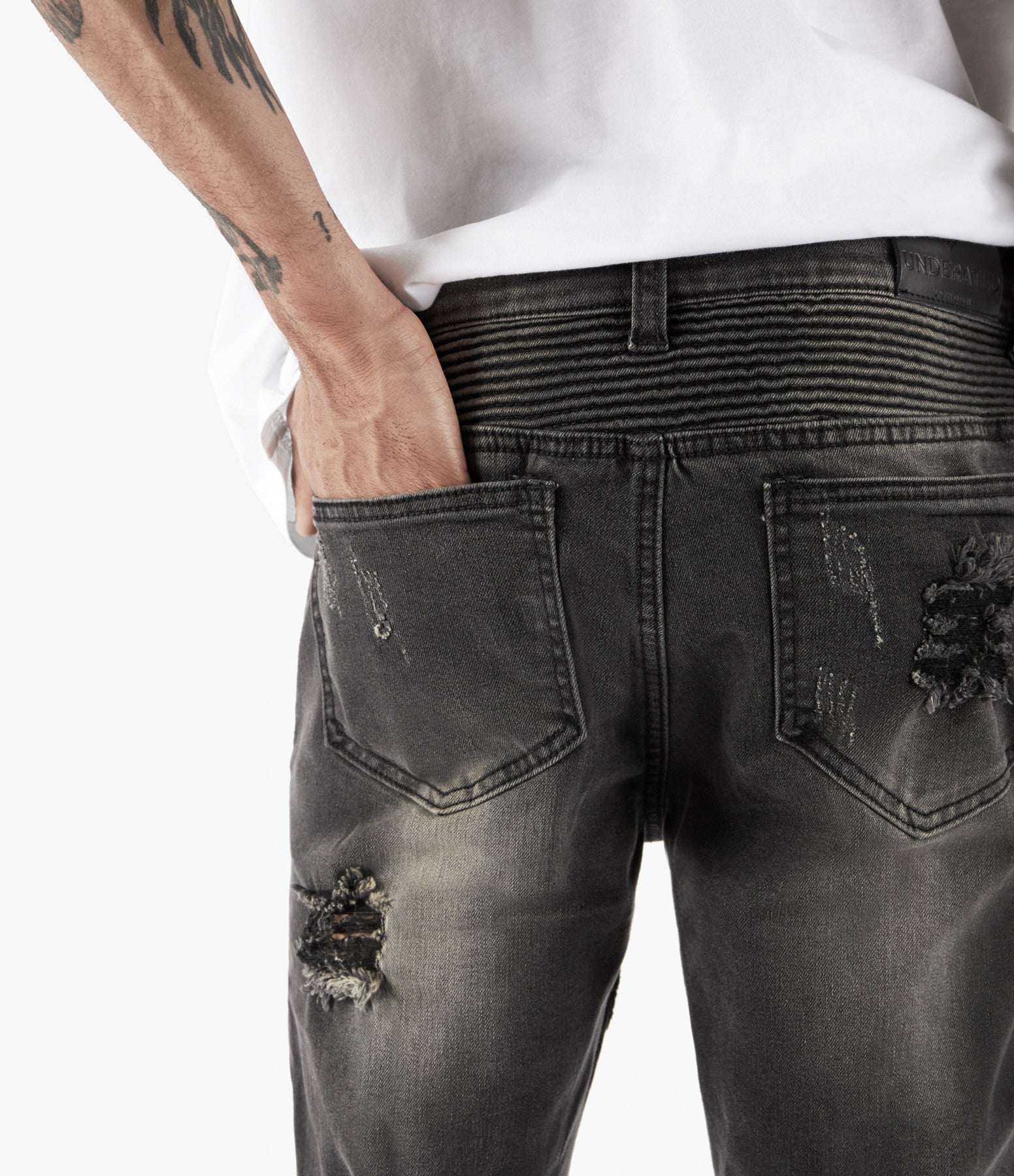 JN152 Distressed Stone Wash Biker Denim - Black - underated london - underatedco - 8