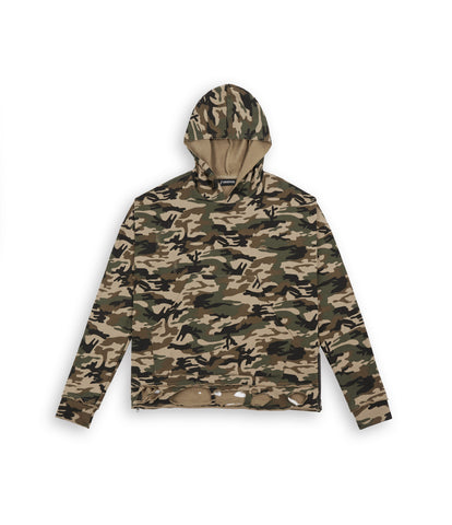 HD312 Distressed Oversized Camo Hoody - UNDERATED