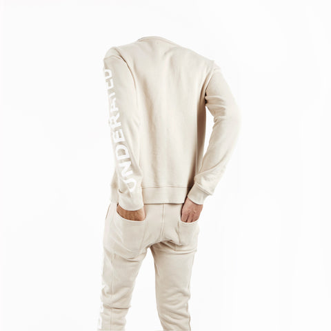 SW344 Asymmetric Zip Sweatshirt - Beige - underated london - underatedco - 1
