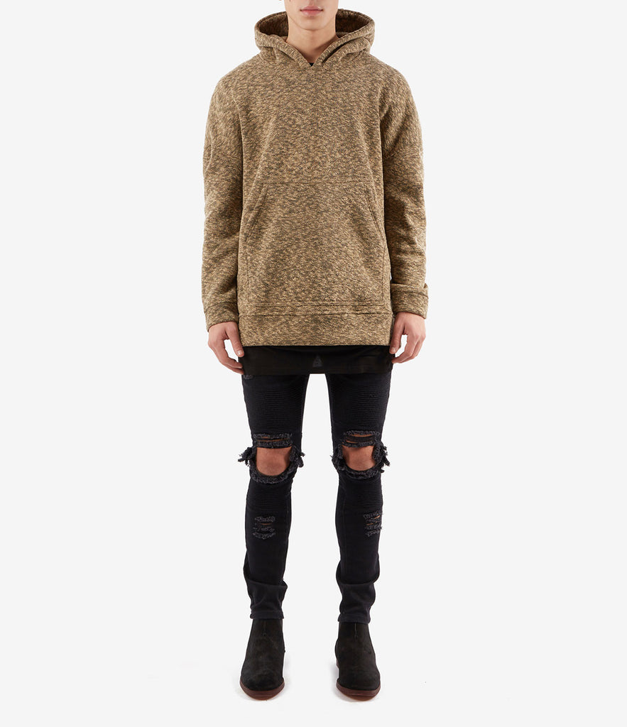 HD378 Oversized Knit Hoody - Sand/Black - underated london - underatedco - 2