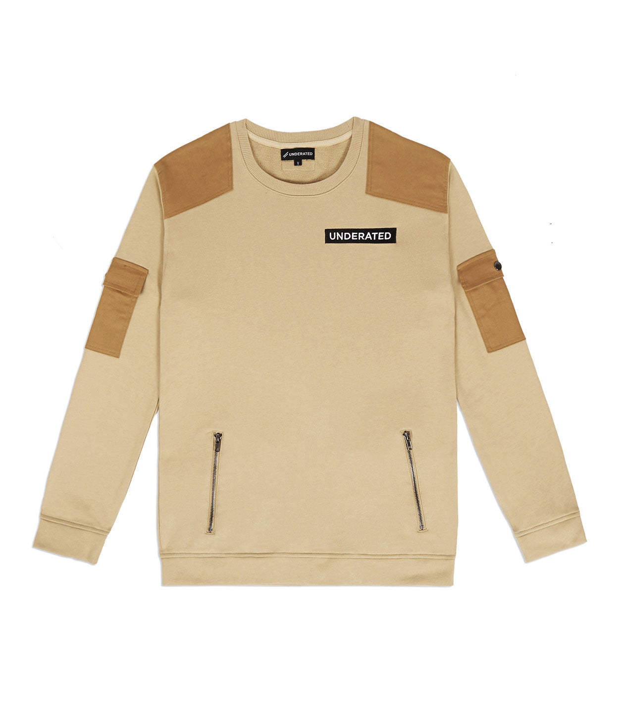 SW376 Utility Cargo Sweatshirt - Beige - underated london - underatedco - 1