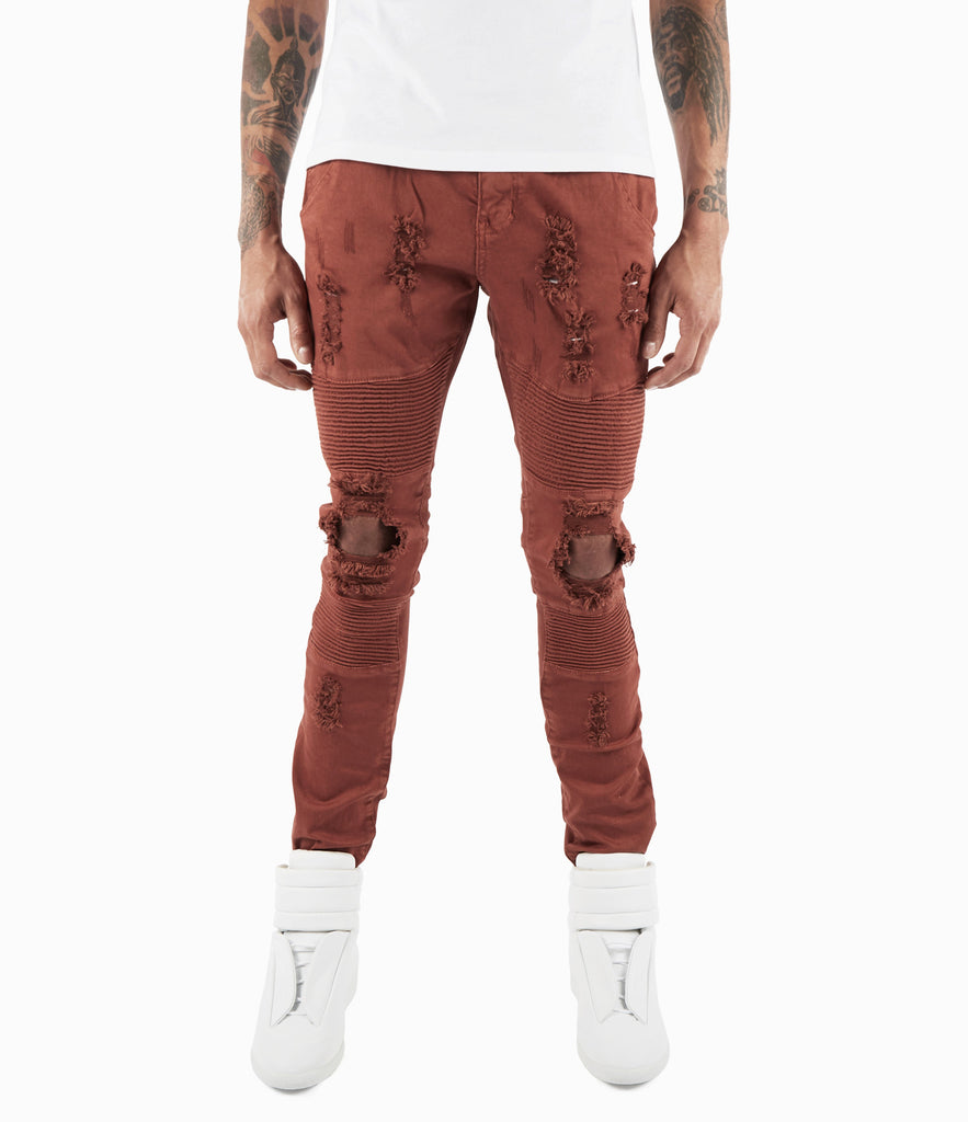 JN152 Distressed Biker Denim - Rust - underated london - underatedco - 6