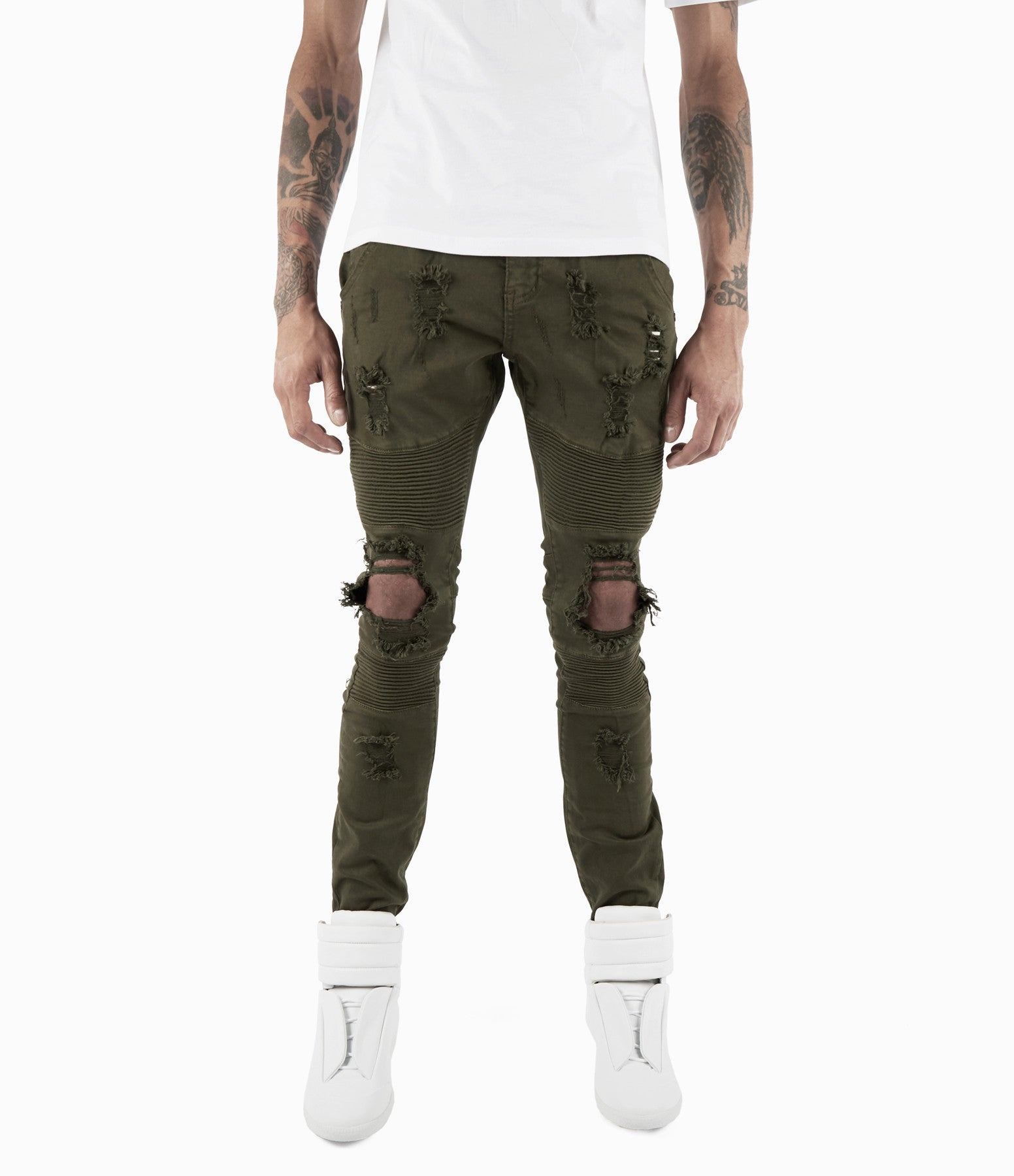JN152 Distressed Biker Denim - Khaki - underated london - underatedco - 3