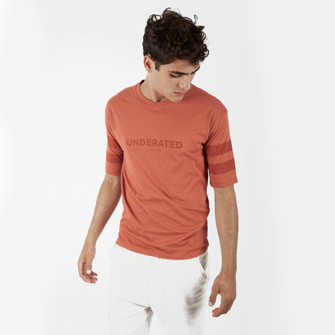 TS404 Tonal Print Tee - Rust - underated london - underatedco - 1