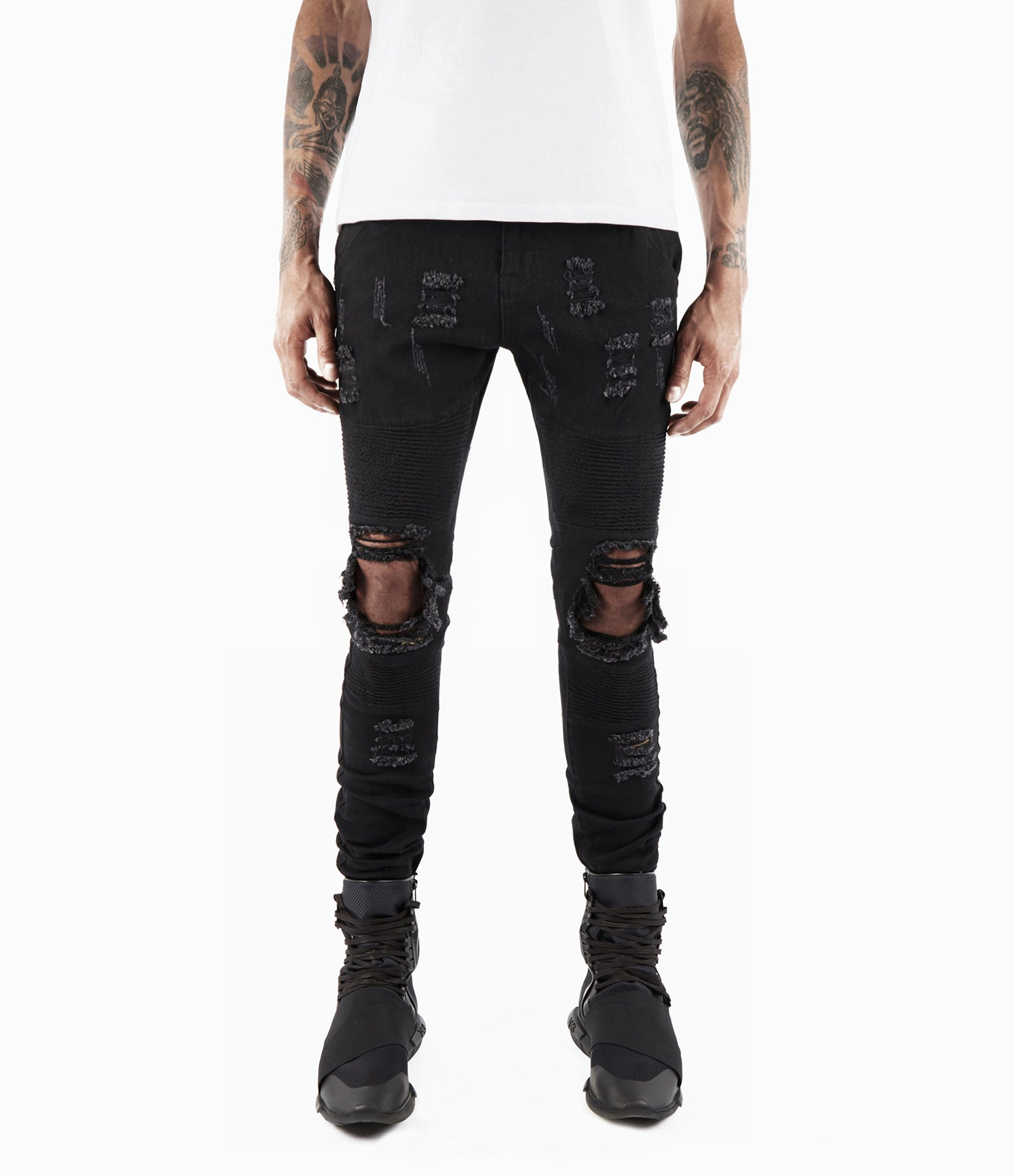 JN152 Distressed Biker Denim - Solid Black - underated london - underatedco - 3