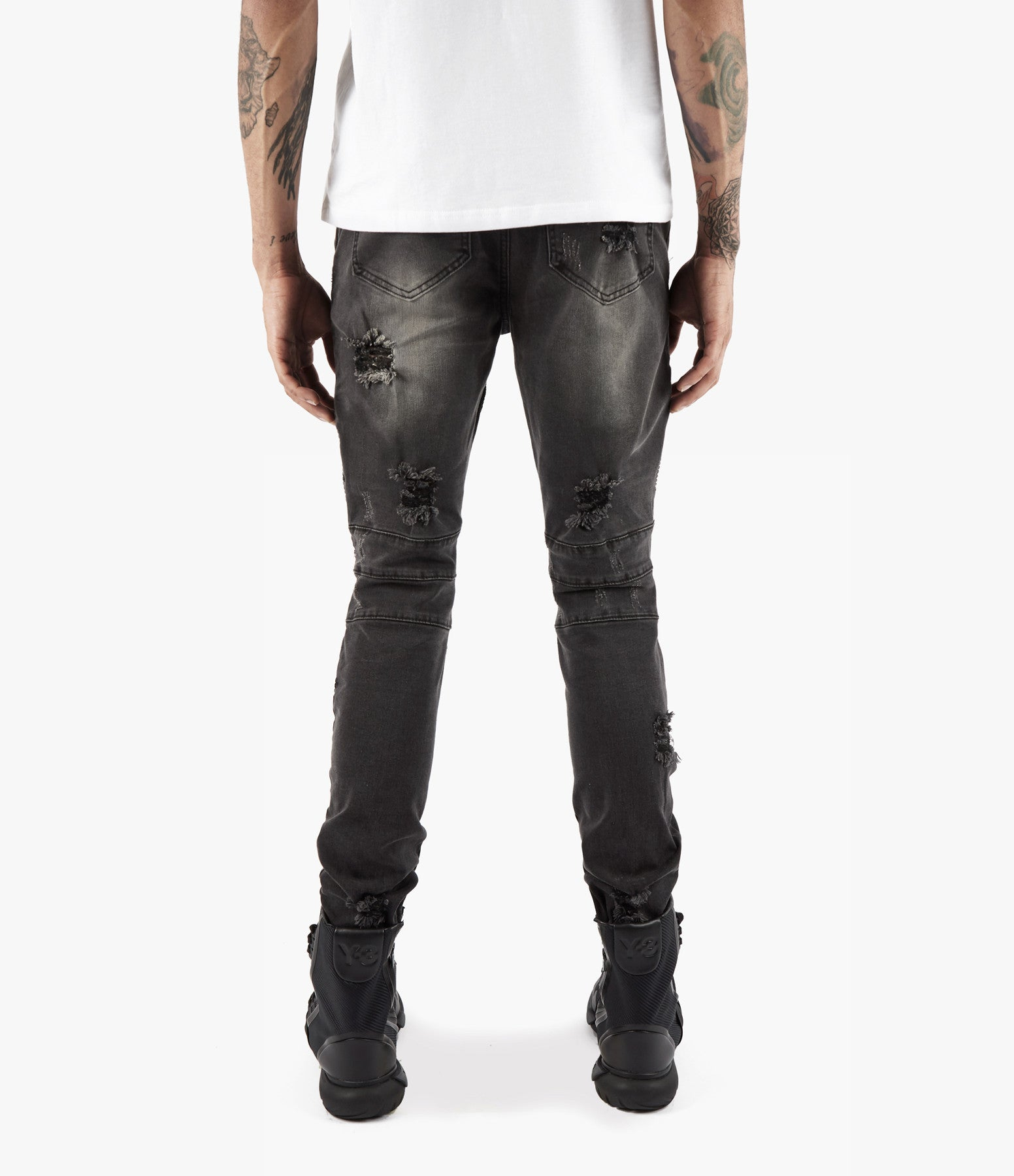 JN152 Distressed Stone Wash Biker Denim - Black - underated london - underatedco - 7