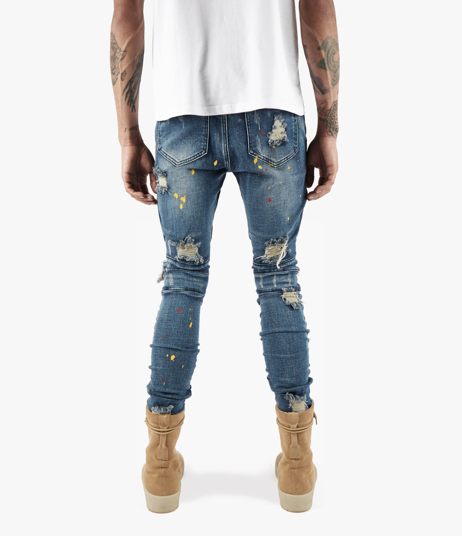 JN152 Distressed Paint Splatter Biker Denim - Indigo - underated london - underatedco - 7