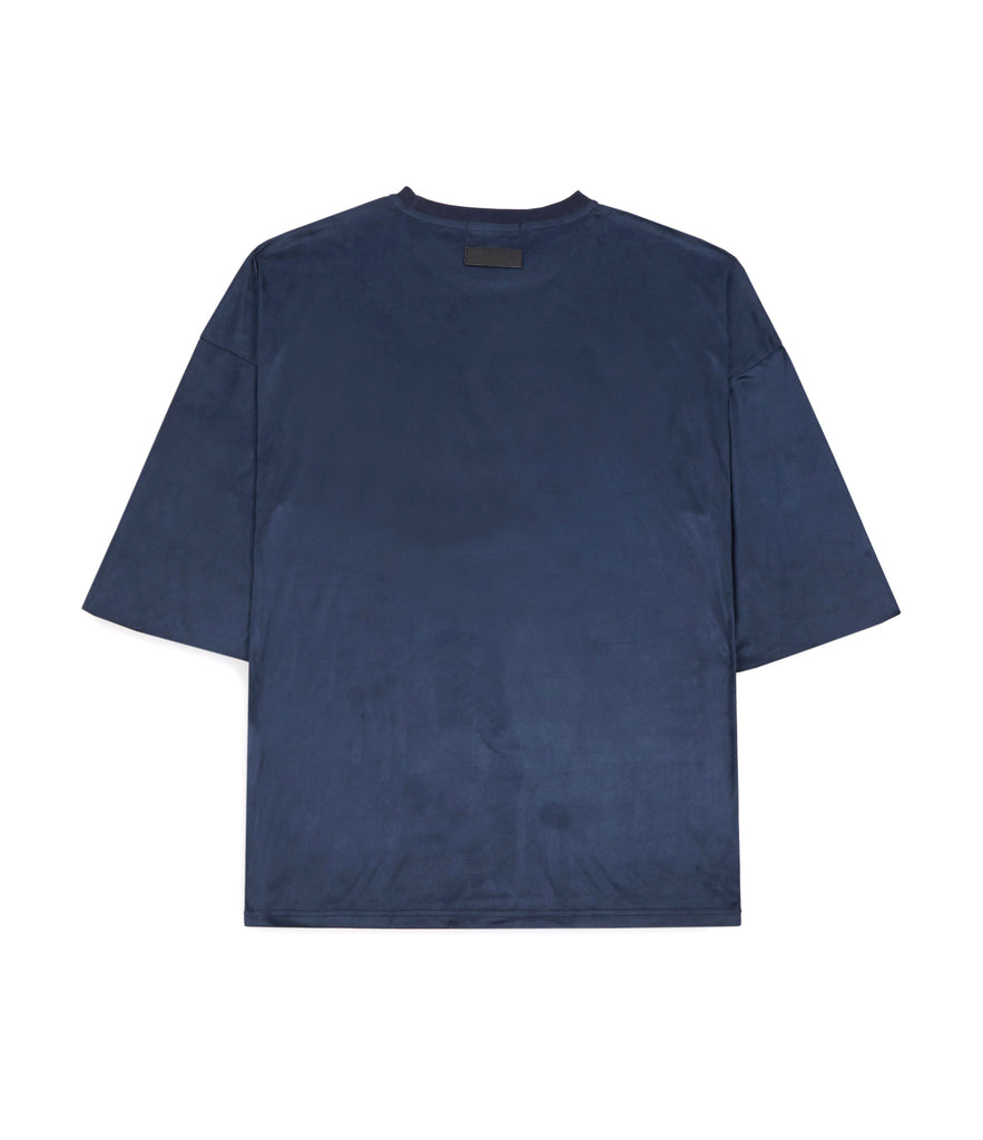 TS302 Suede Oversized Box Tee - Navy - UNDERATED