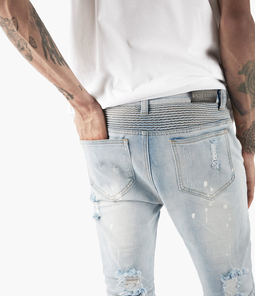 JN152 Distressed Paint Splatter Biker Denim - Light Blue - underated london - underatedco - 7