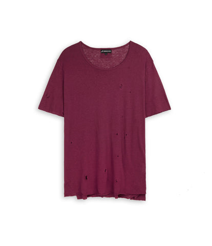 D10V2 Exile Distressed Tee - Oxblood - underated london - underatedco - 2
