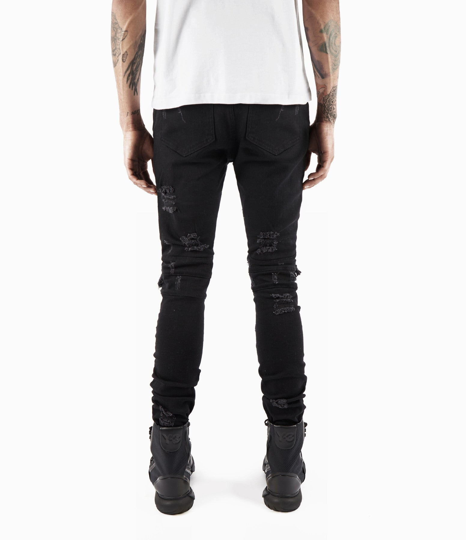 JN152 Distressed Biker Denim - Solid Black - underated london - underatedco - 7