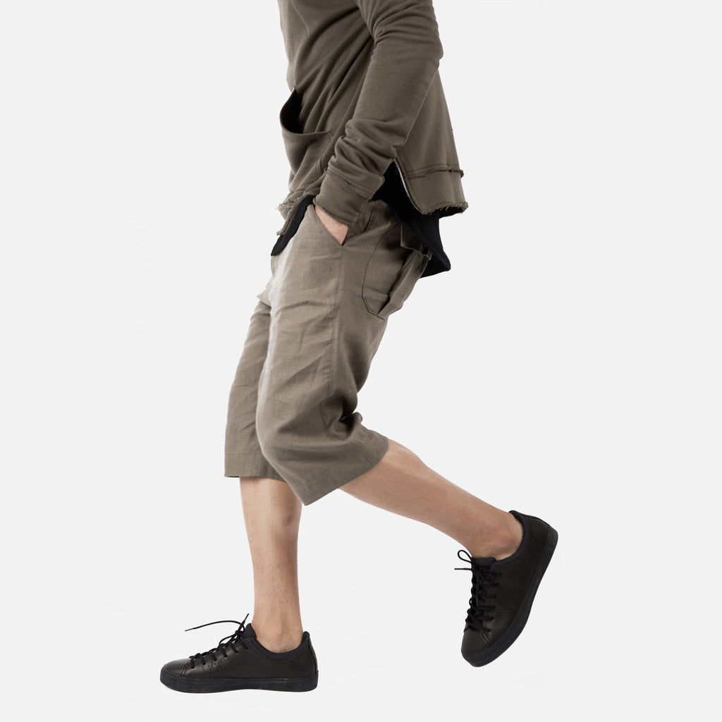 SR282 Exile Linen Shorts - Khaki - underated london - underatedco - 1
