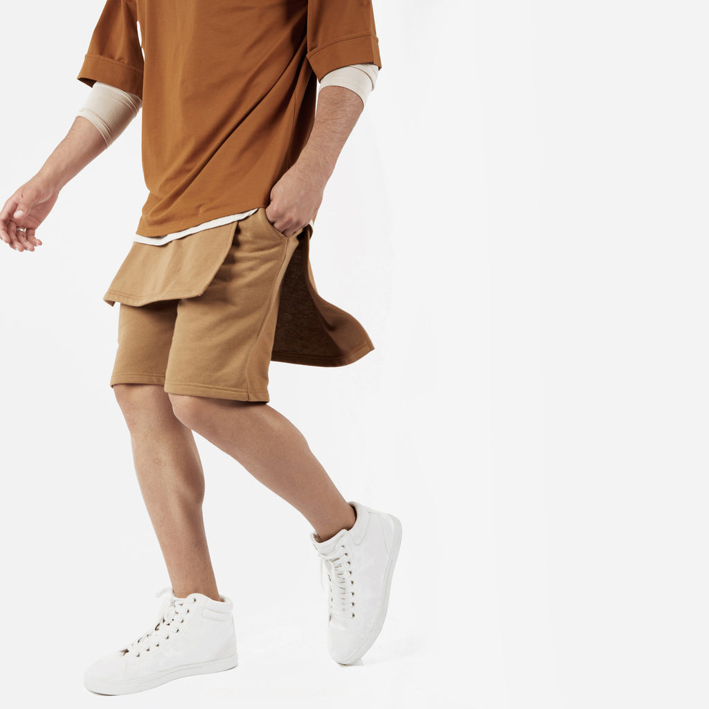 SR054 Layered Shorts - Tan - underated london - underatedco - 3