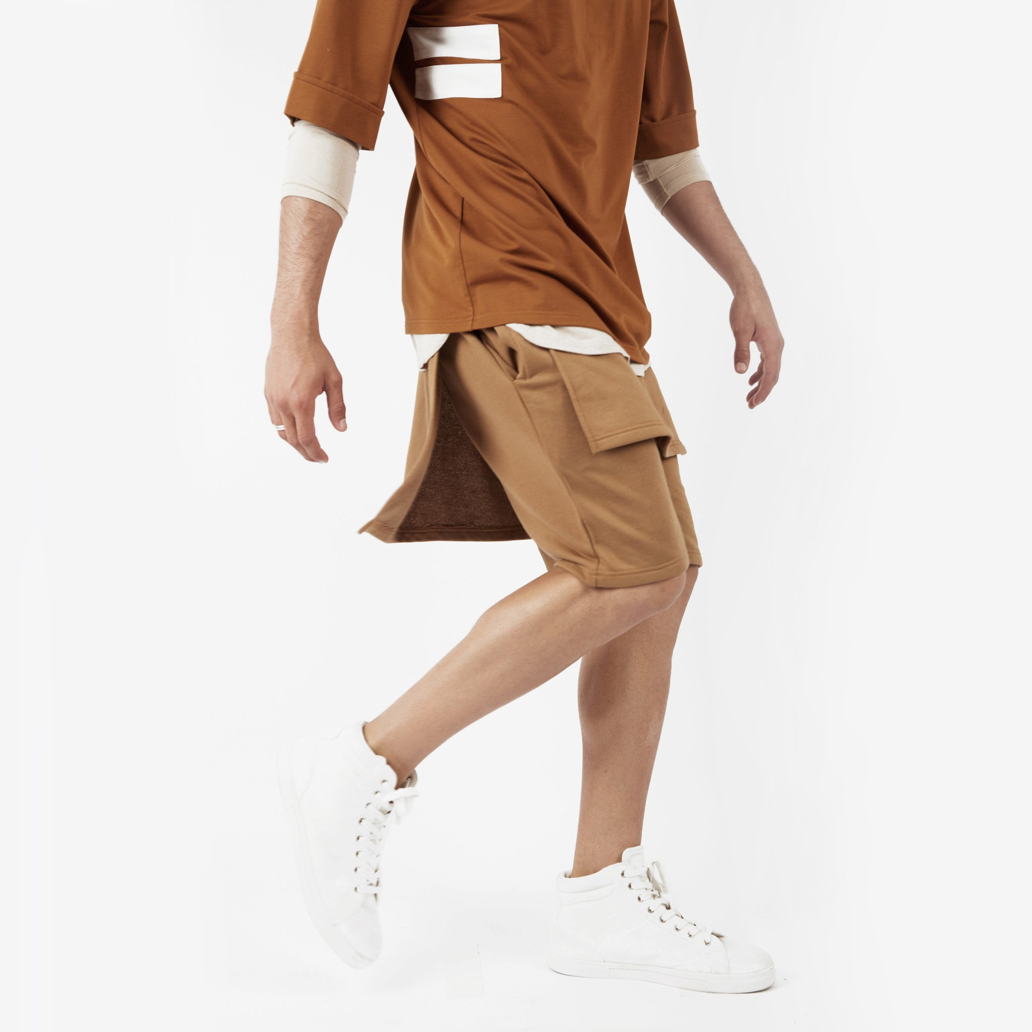 SR054 Layered Shorts - Tan - underated london - underatedco - 4