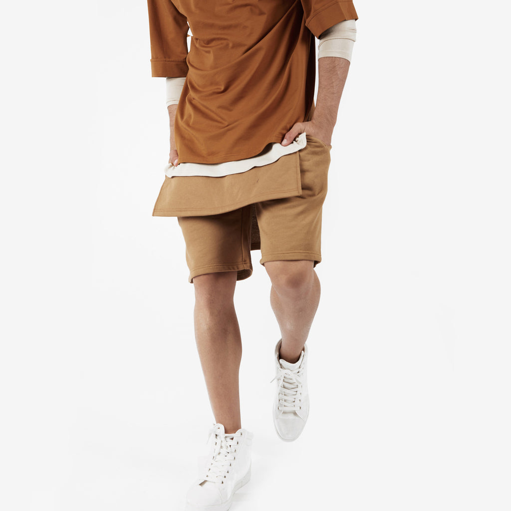 SR054 Layered Shorts - Tan - underated london - underatedco - 6