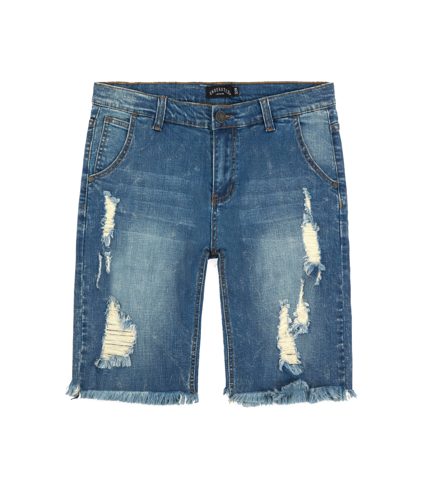 JN213 Distressed Denim Shorts - Blue - underated london - underatedco - 1
