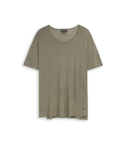 D10V2 Exile Distressed Tee - Khaki - underated london - underatedco - 2