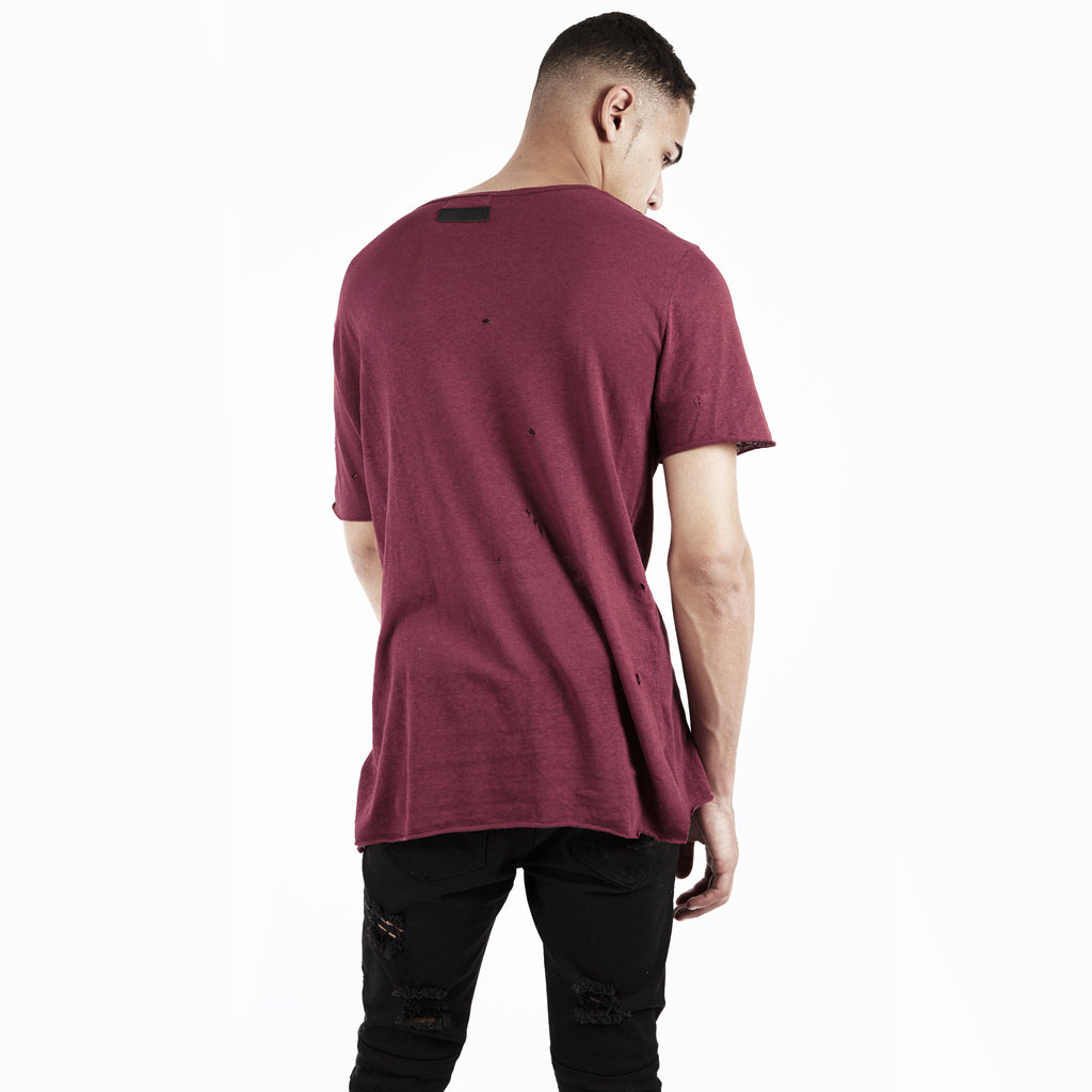 D10V2 Exile Distressed Tee - Oxblood - UNDERATED