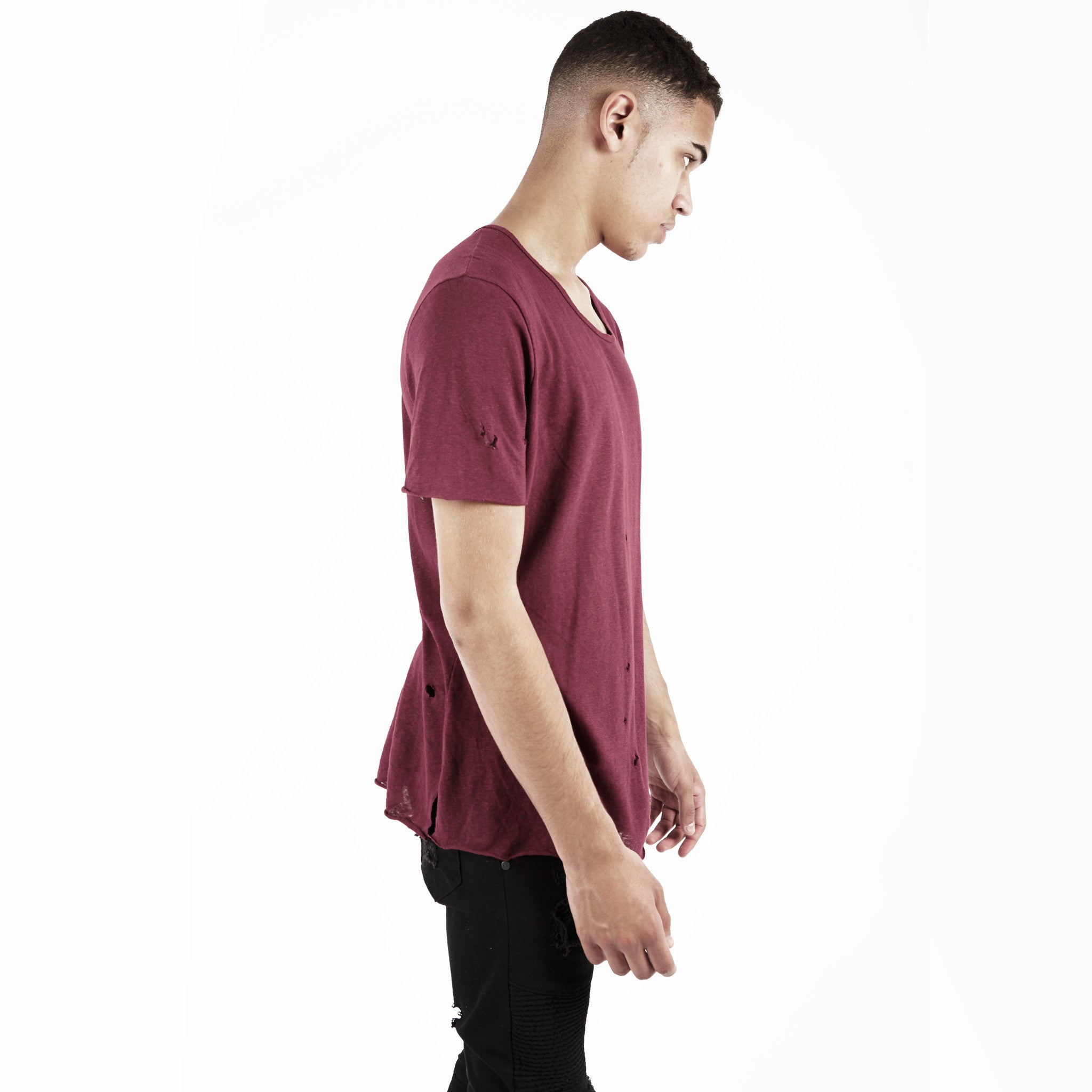 D10V2 Exile Distressed Tee - Oxblood - underated london - underatedco - 4