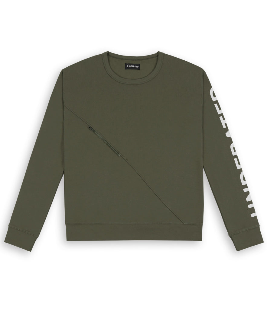 SW344 Asymmetric Zip Sweatshirt - Khaki - underated london - underatedco - 2
