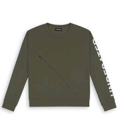SW344 Asymmetric Zip Sweatshirt - Khaki - UNDERATED