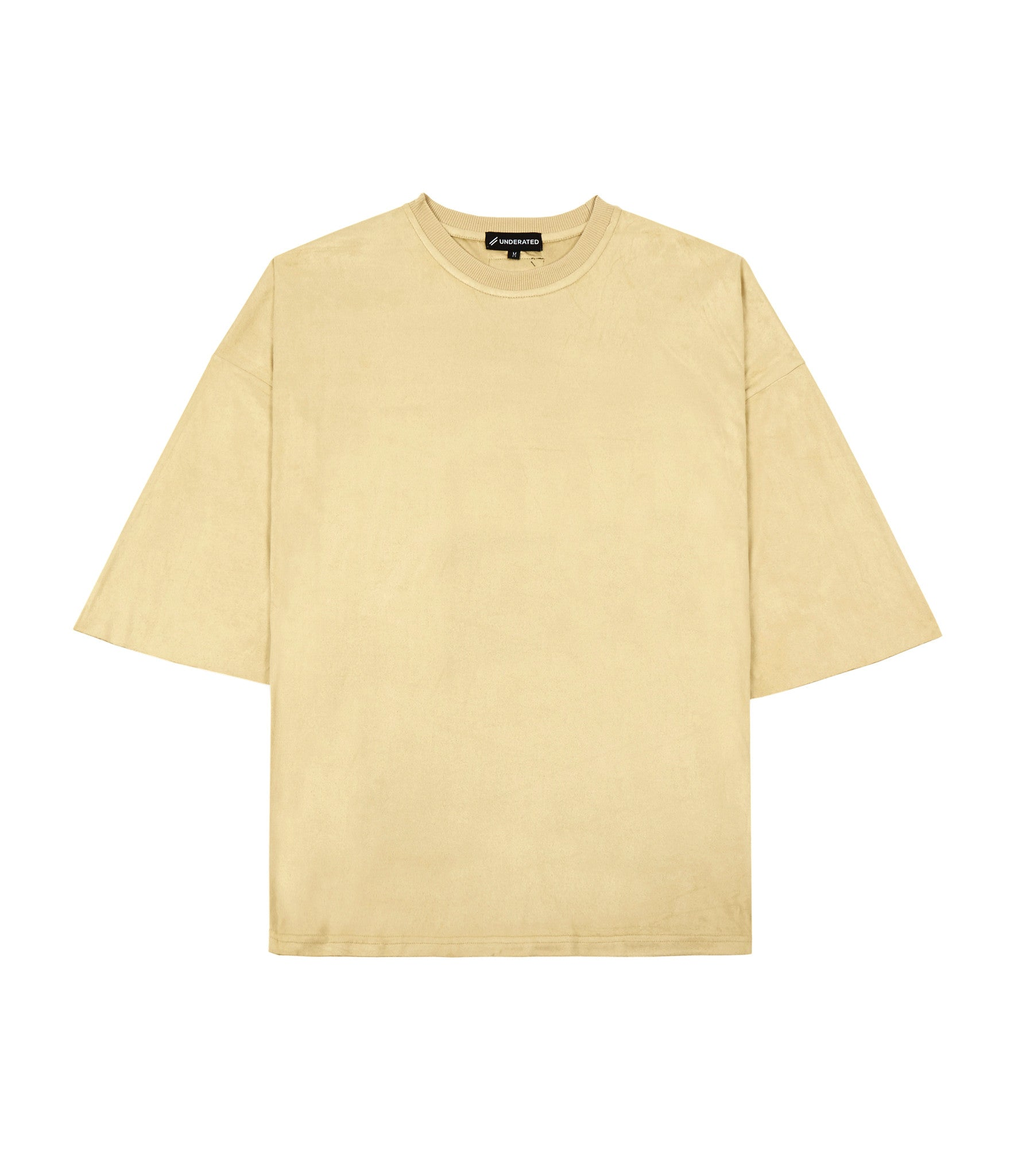 TS302 Suede Oversized Box Tee - Beige - underated london - underatedco - 2
