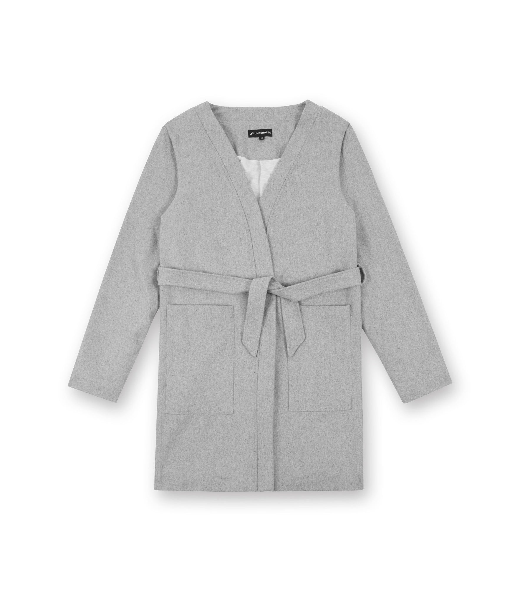 KM070 Wool Blend Kimono Coat - Grey - underated london - underatedco - 1