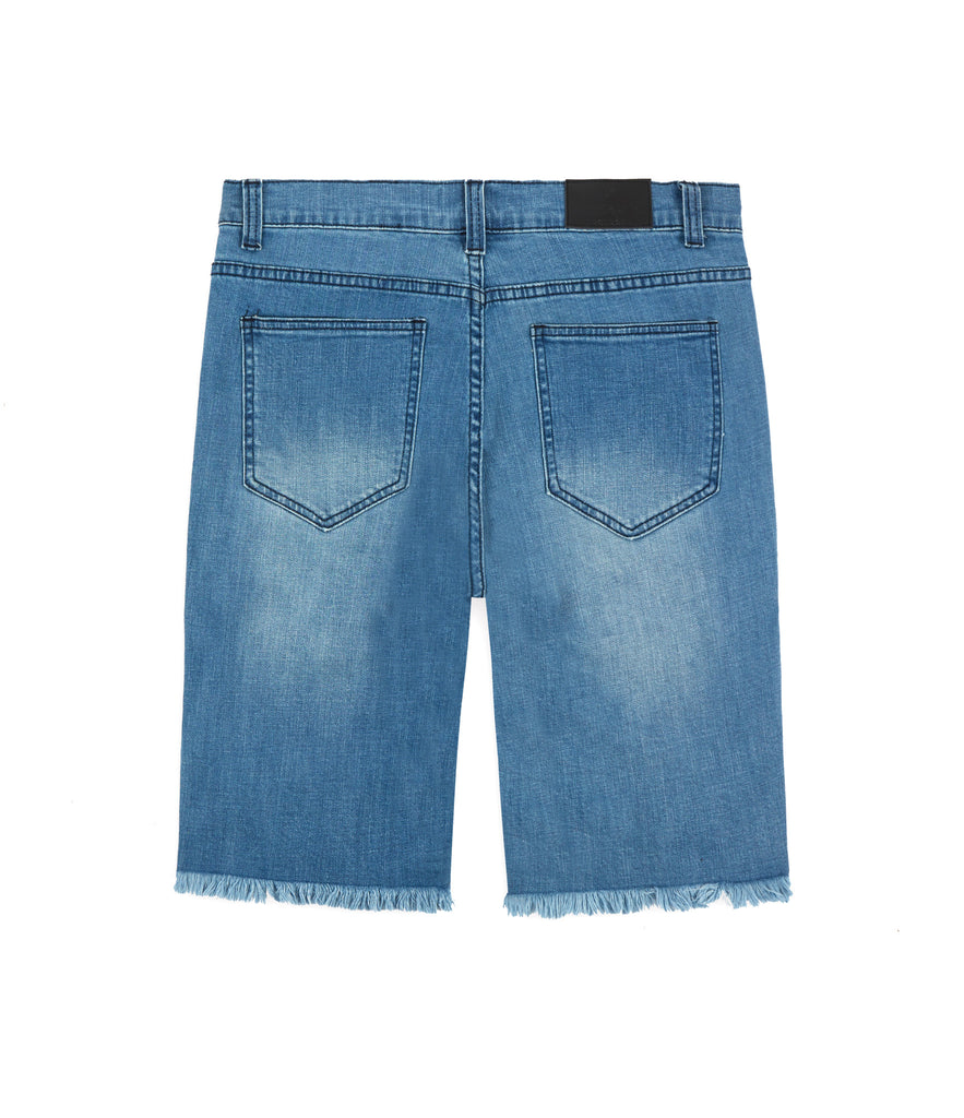 JN261 Biker Denim Shorts - Light Blue - UNDERATED