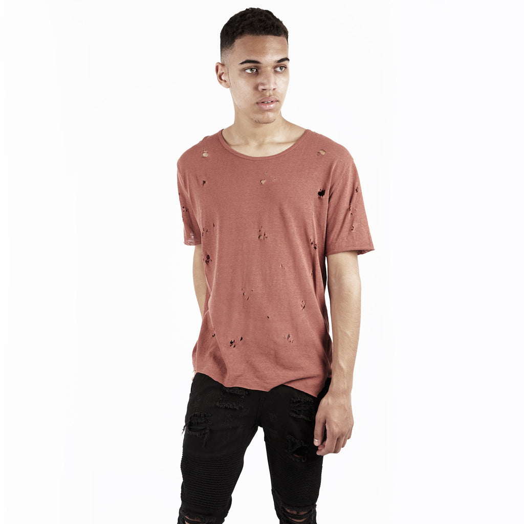 D10V2 Exile Distressed Tee - Rust - underated london - underatedco - 1