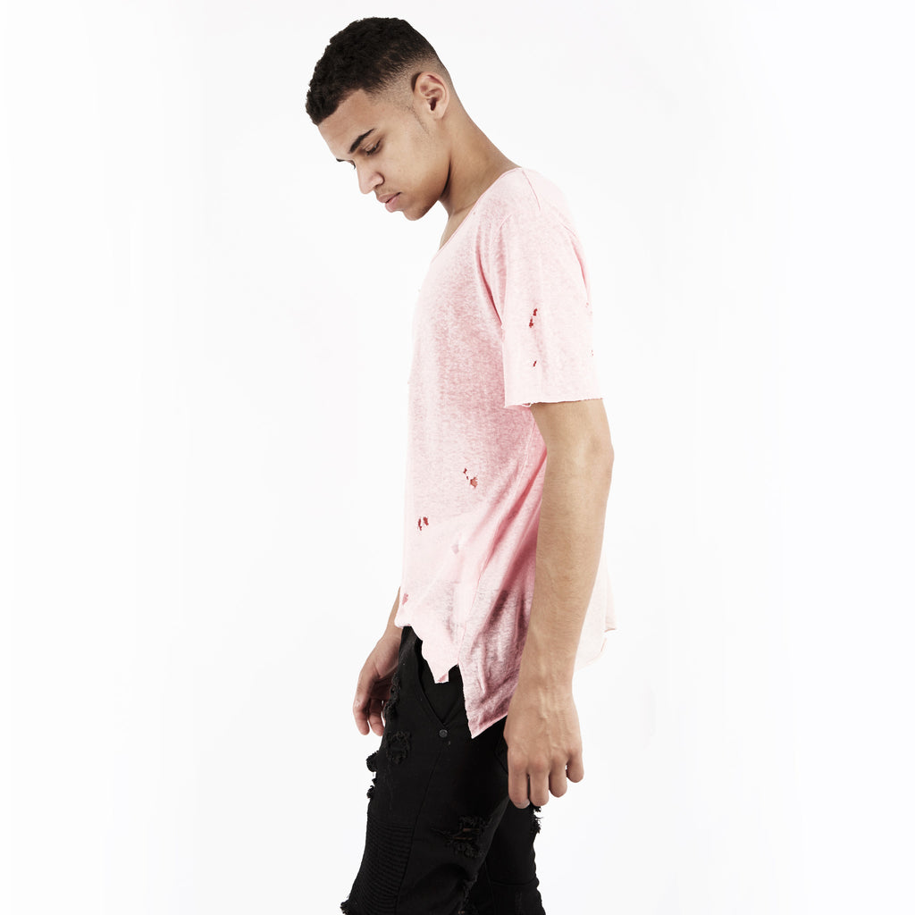 D10V2 Exile Distressed Tee - Pink - underated london - underatedco - 1