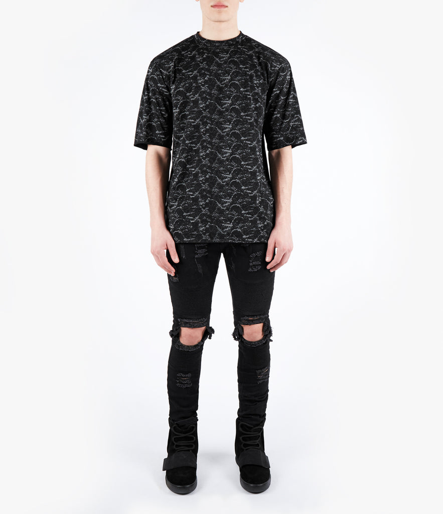 TS420 Textured Pattern Print Tee - Black - UNDERATED
