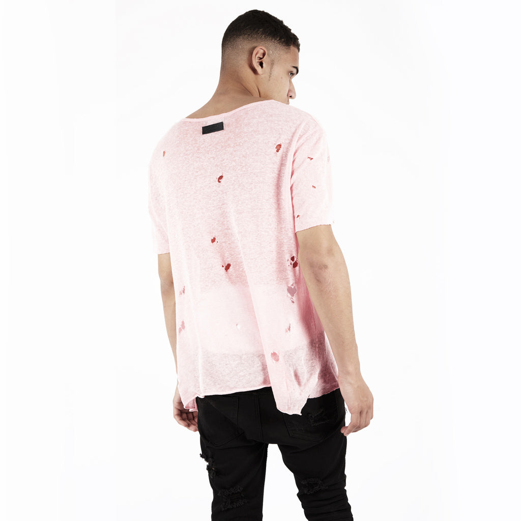 D10V2 Exile Distressed Tee - Pink - underated london - underatedco - 5
