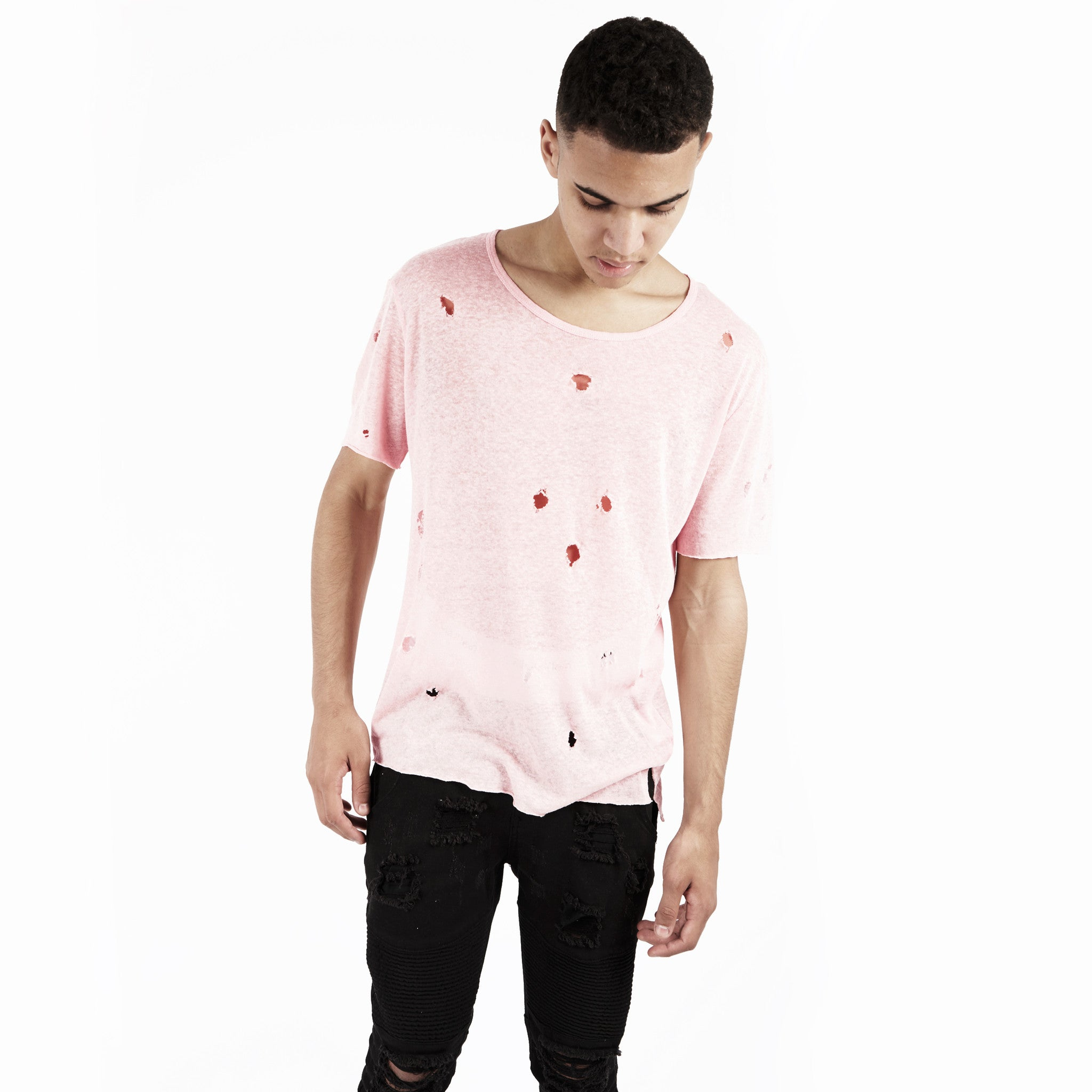 D10V2 Exile Distressed Tee - Pink - underated london - underatedco - 4