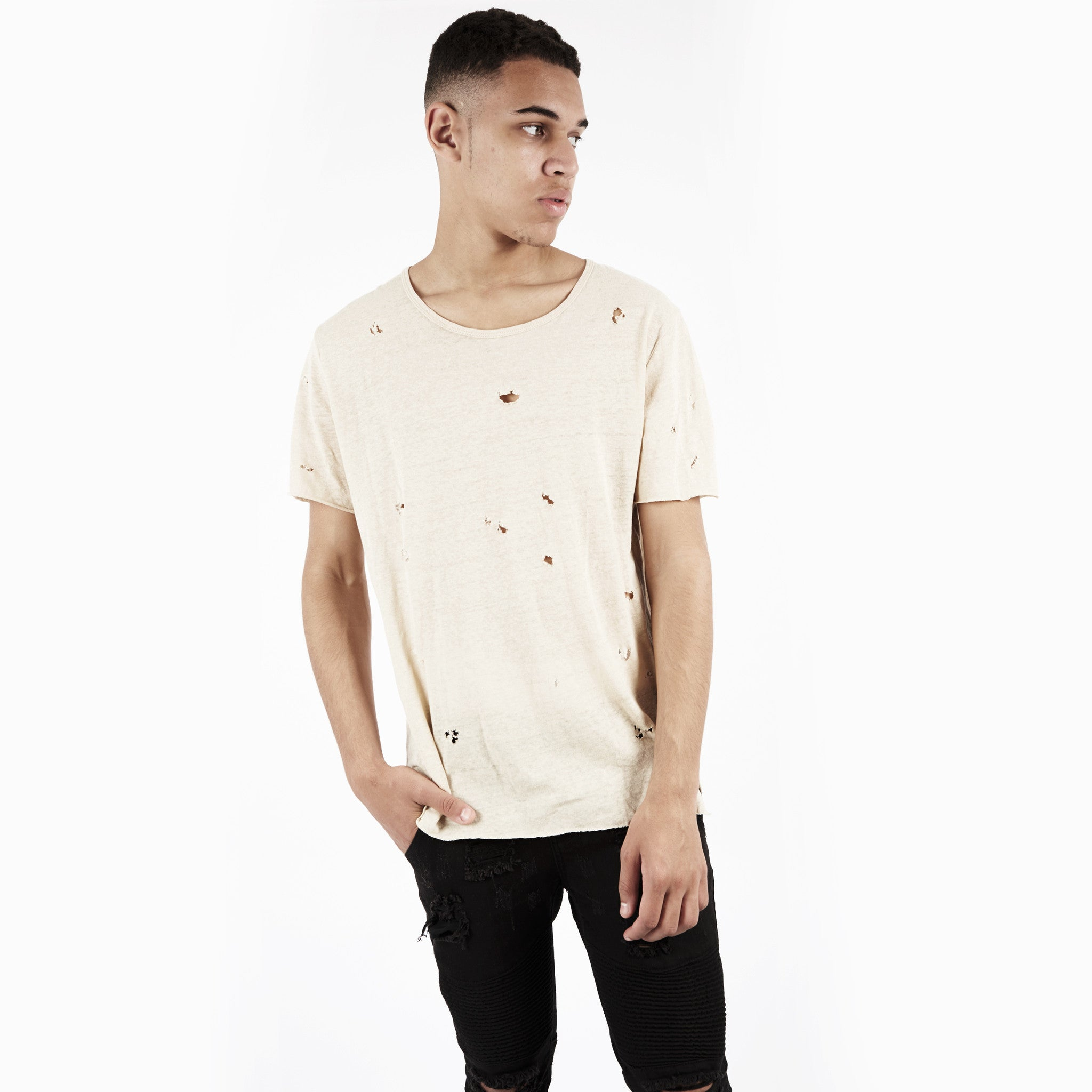 D10V2 Exile Distressed Tee - Sand - underated london - underatedco - 1