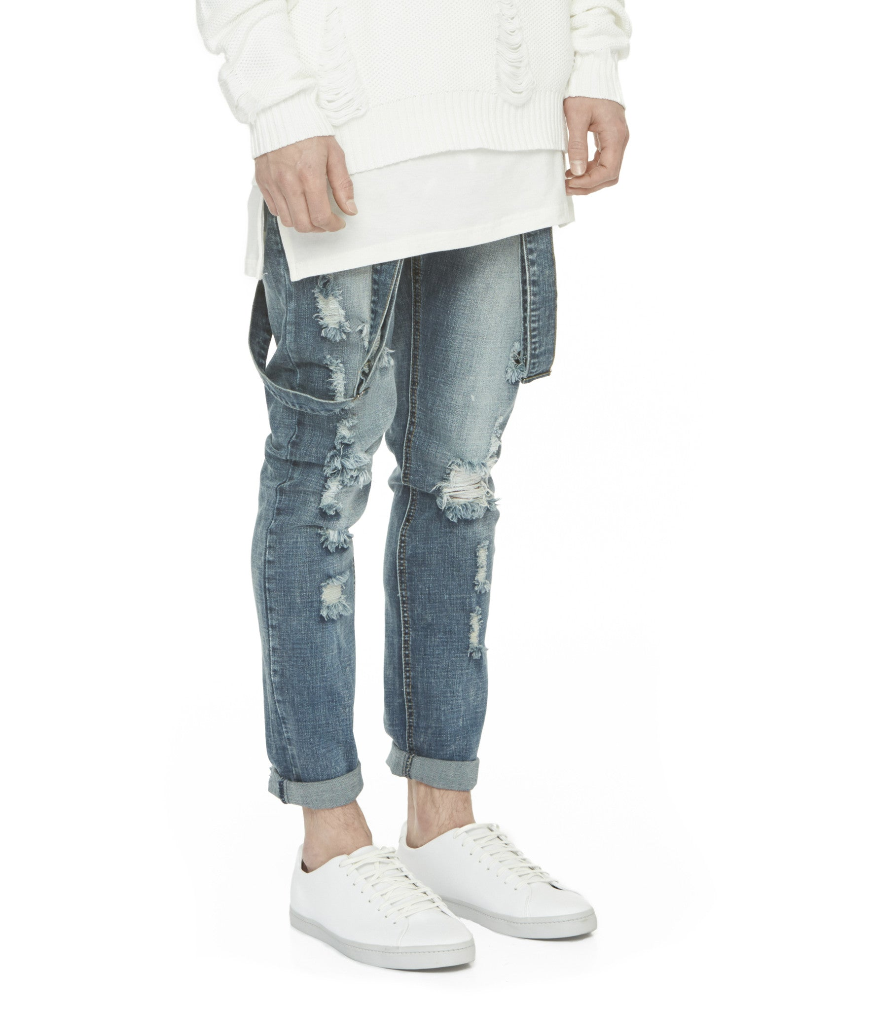 JN181 Distressed Stone Wash Dungaree Denim - Mid Blue - underated london - underatedco - 6