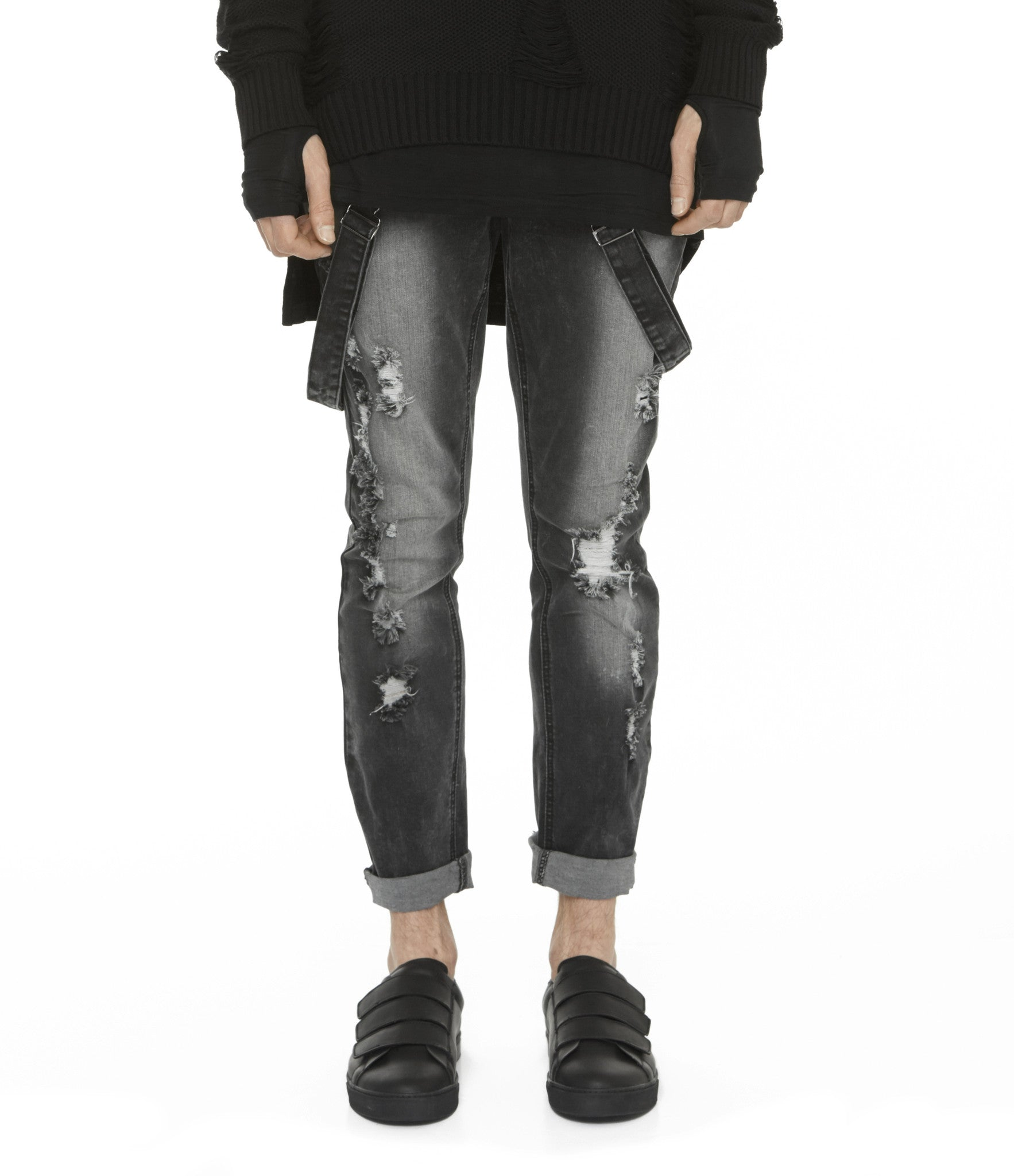 JN181 Distressed Stone Wash Dungaree Denim - Black - underated london - underatedco - 5