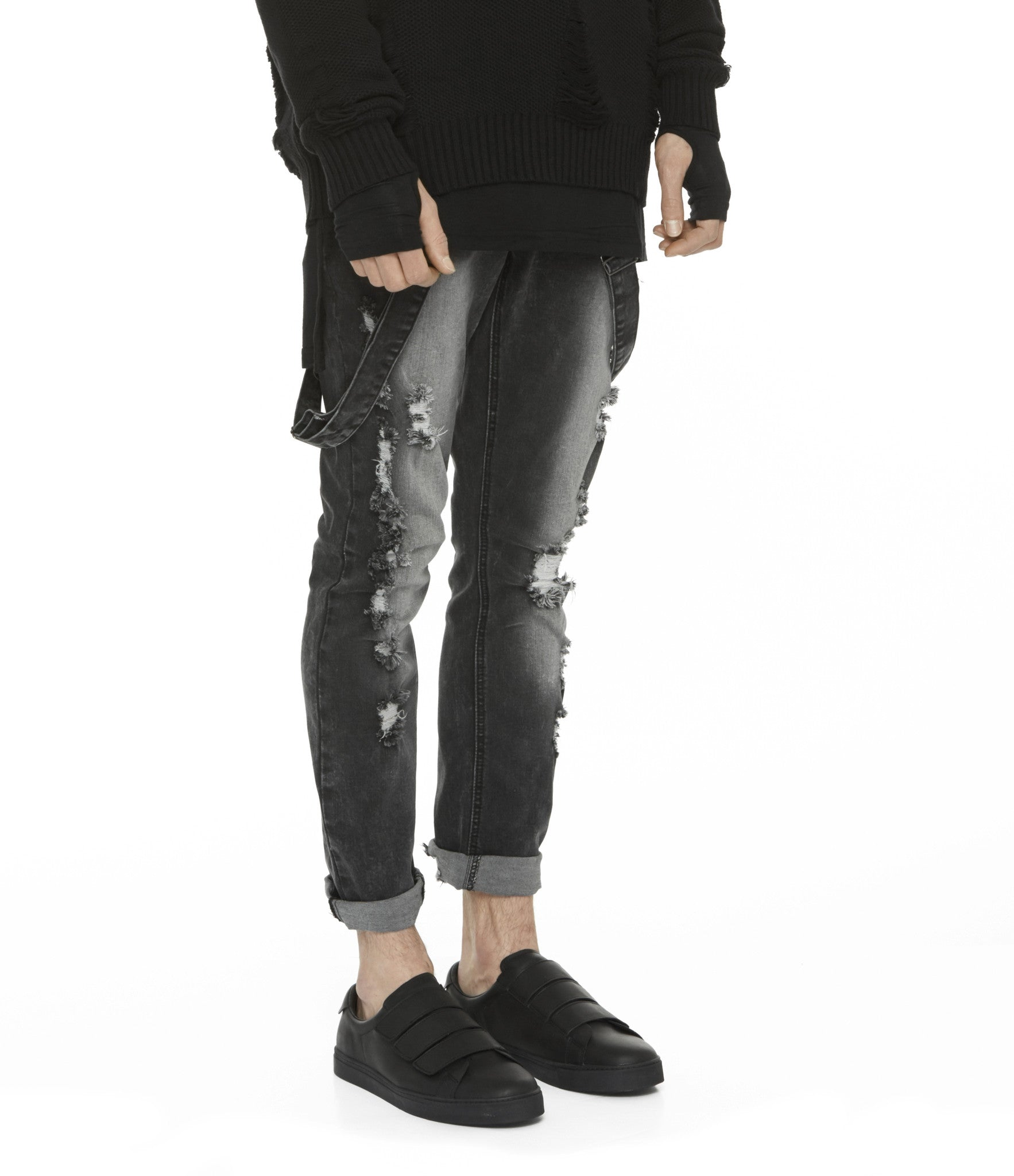 JN181 Distressed Stone Wash Dungaree Denim - Black - underated london - underatedco - 6