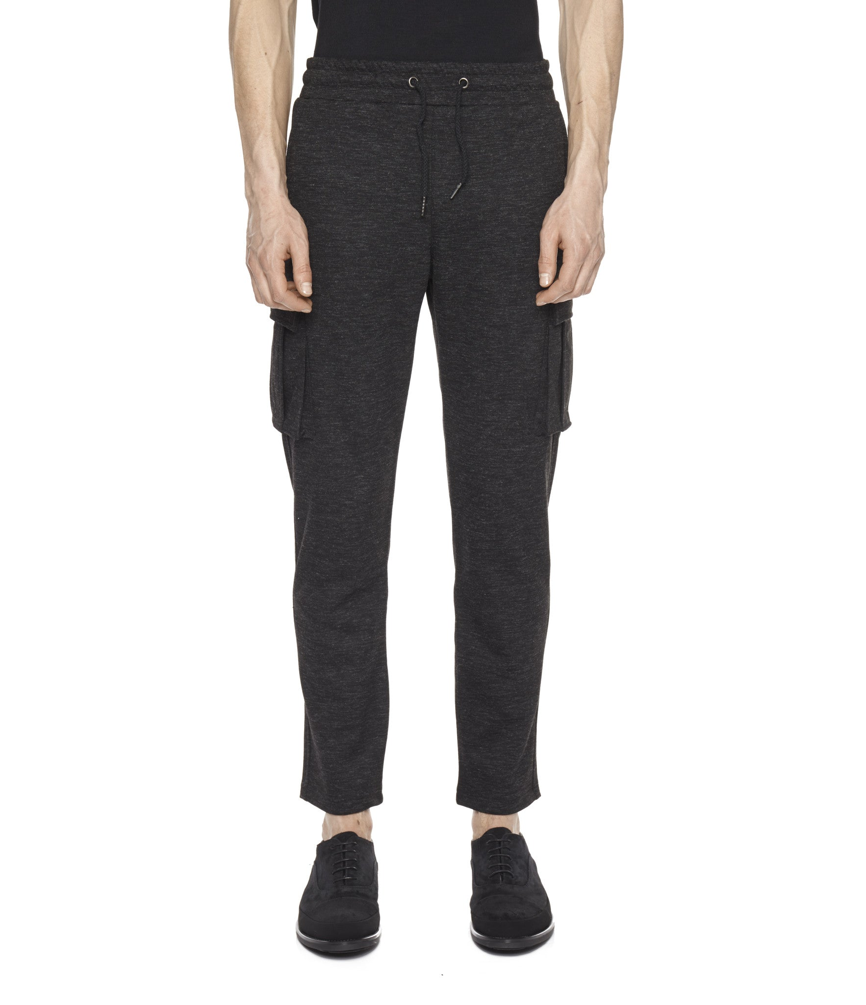 TR253 Wool Blend Cropped Cargo Pants - Black - underated london - underatedco - 4