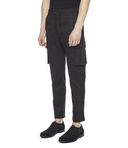 TR253 Wool Blend Cropped Cargo Pants - Black - underated london - underatedco - 1