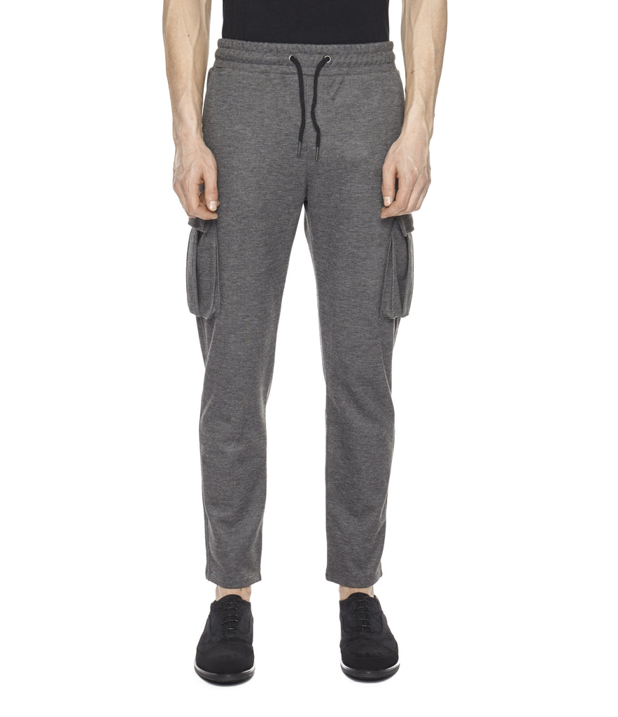 TR253 Wool Blend Cropped Cargo Pants - Charcoal - underated london - underatedco - 4