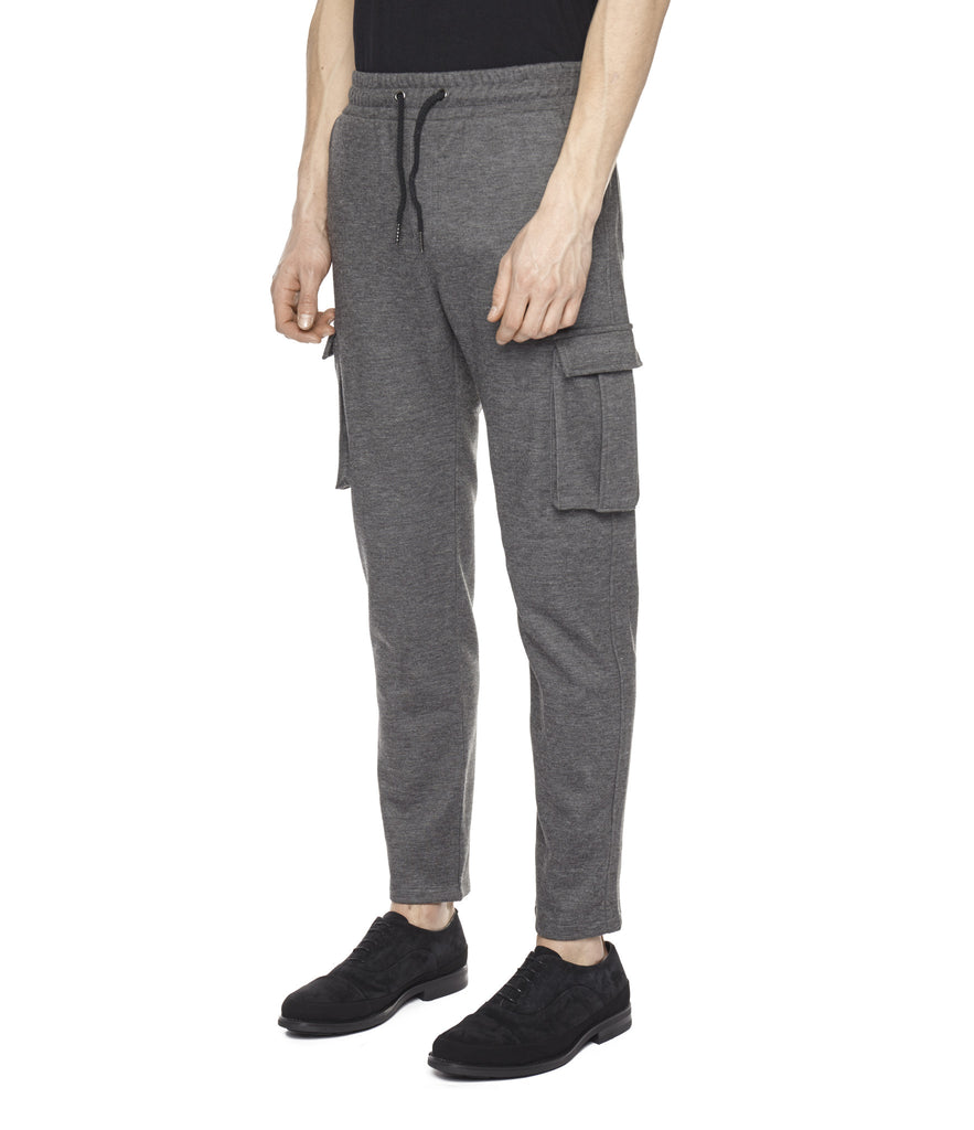 TR253 Wool Blend Cropped Cargo Pants - Charcoal - underated london - underatedco - 1