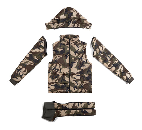JK483 Deconstructed Puffa Jacket - Green Camo - UNDERATED