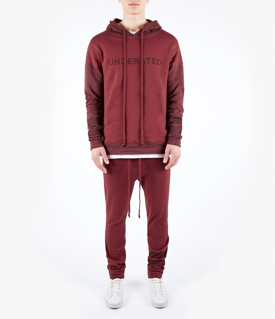 HD457 Oversized Two Tone Essential Hoody - Oxblood