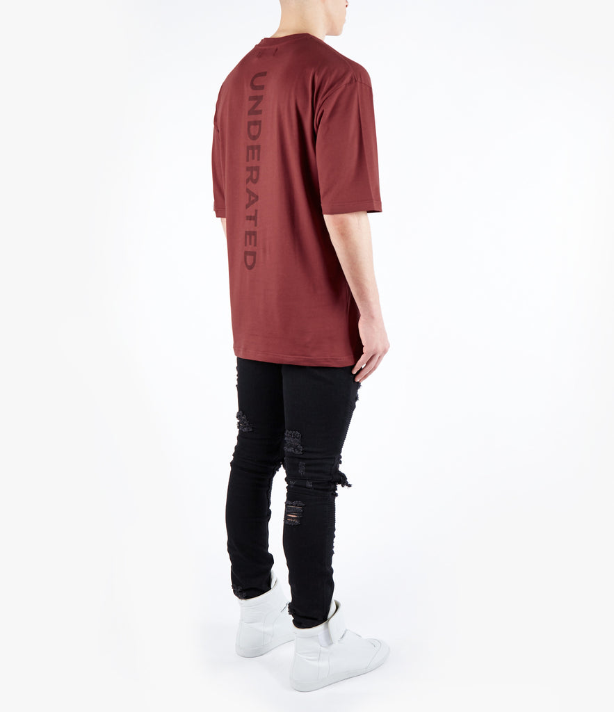 TS465 Essential Spine Printed Tee - Oxblood