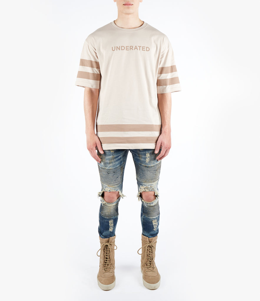 TS469 Oversized Essential Stripe Printed Tee - Beige