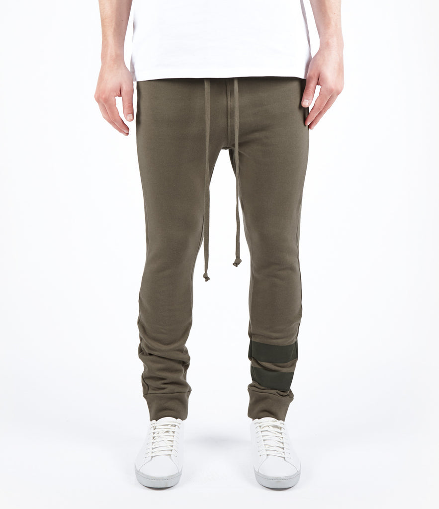TR483 Essential Drop Crotch Joggers - Khaki