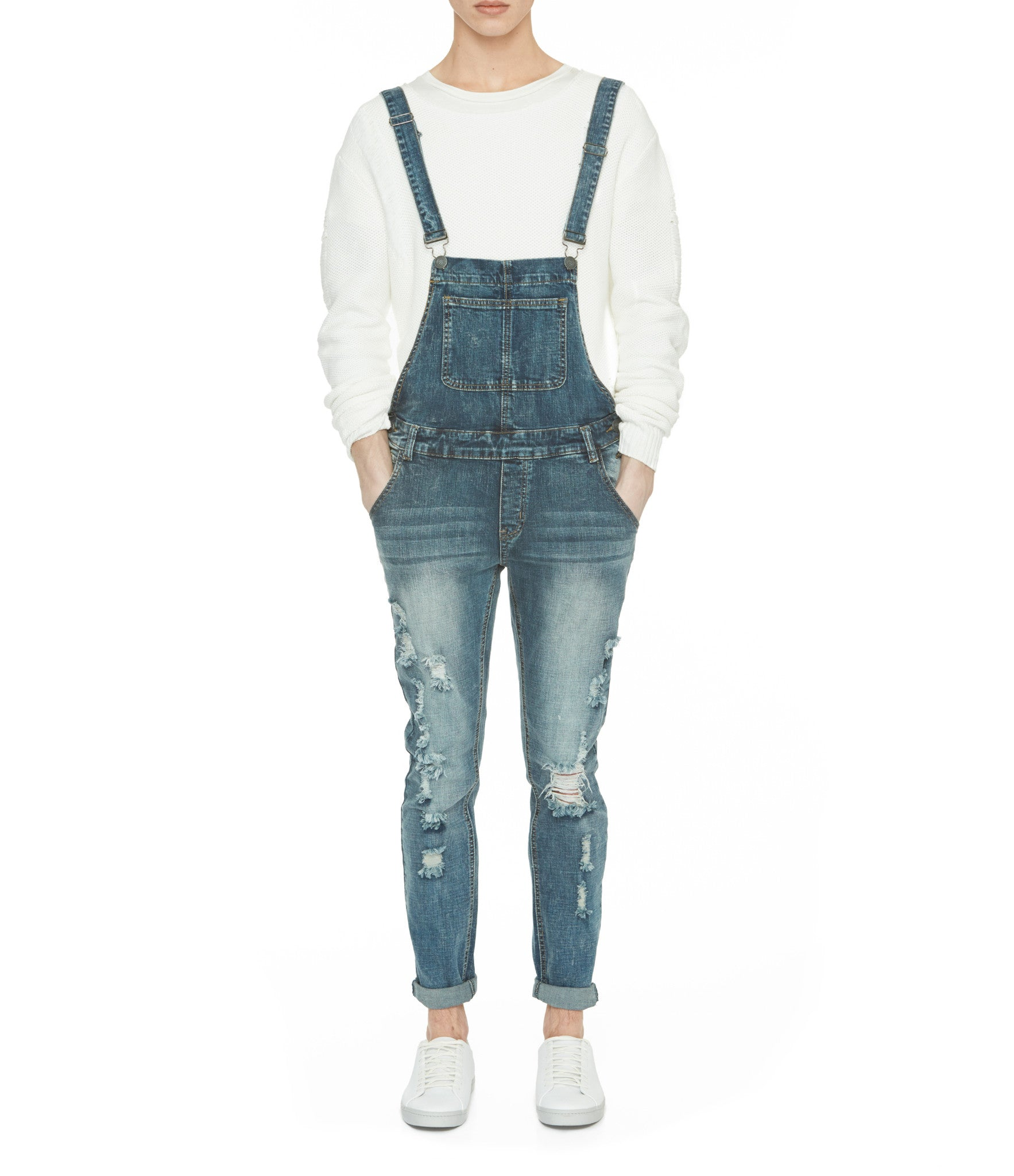 JN181 Distressed Stone Wash Dungaree Denim - Mid Blue - underated london - underatedco - 9