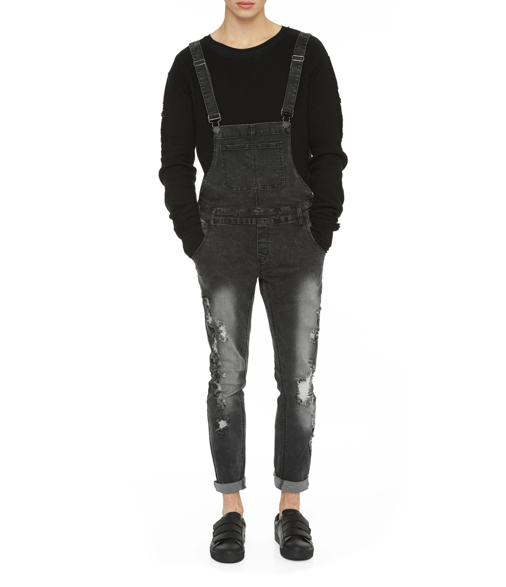 JN181 Distressed Stone Wash Dungaree Denim - Black - underated london - underatedco - 8